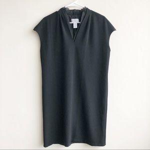 Carmen Black Shift Cap Sleeve Crepe V Neck Dress